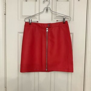 Topshop Mini-skirt Coral Front-Zip Size US6